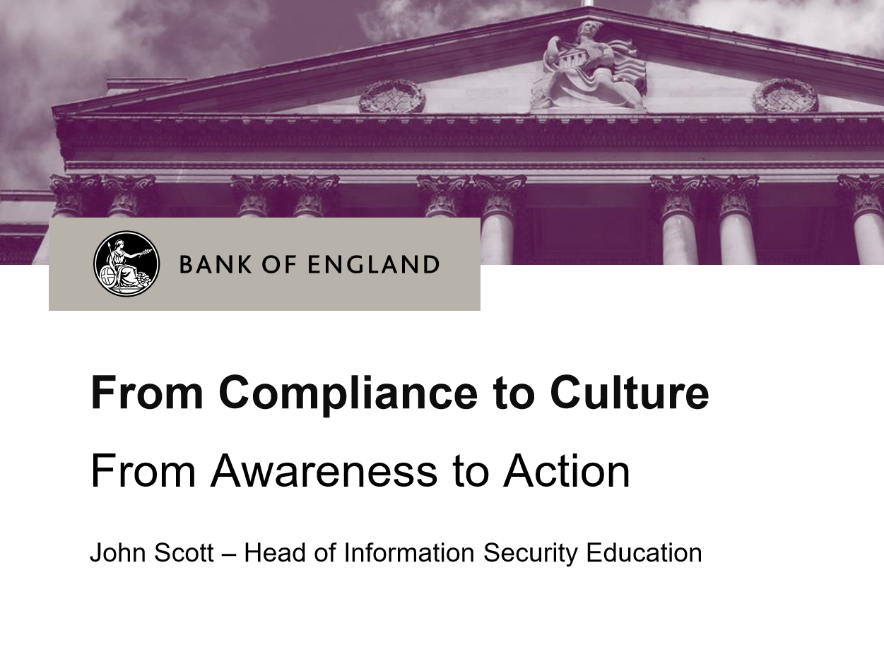 From Compliance to Culture - From Awareness to Act