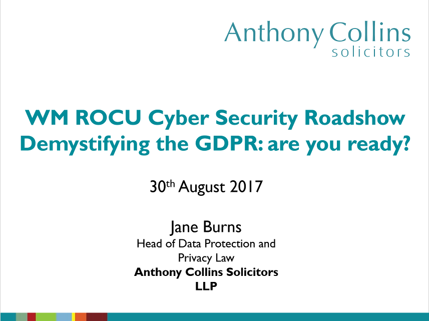 Anthony Collins Demystifying the GDPR