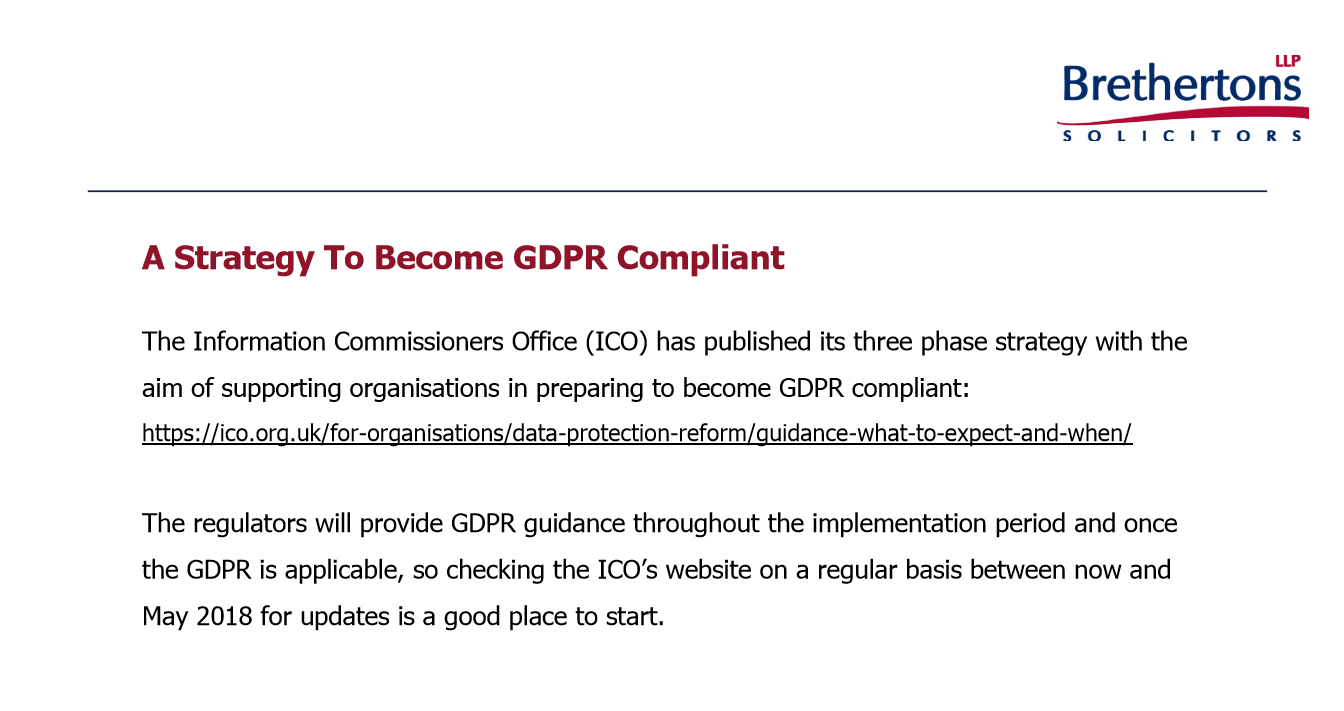 Brethertons A Strategy To Become GDPR Compliant
