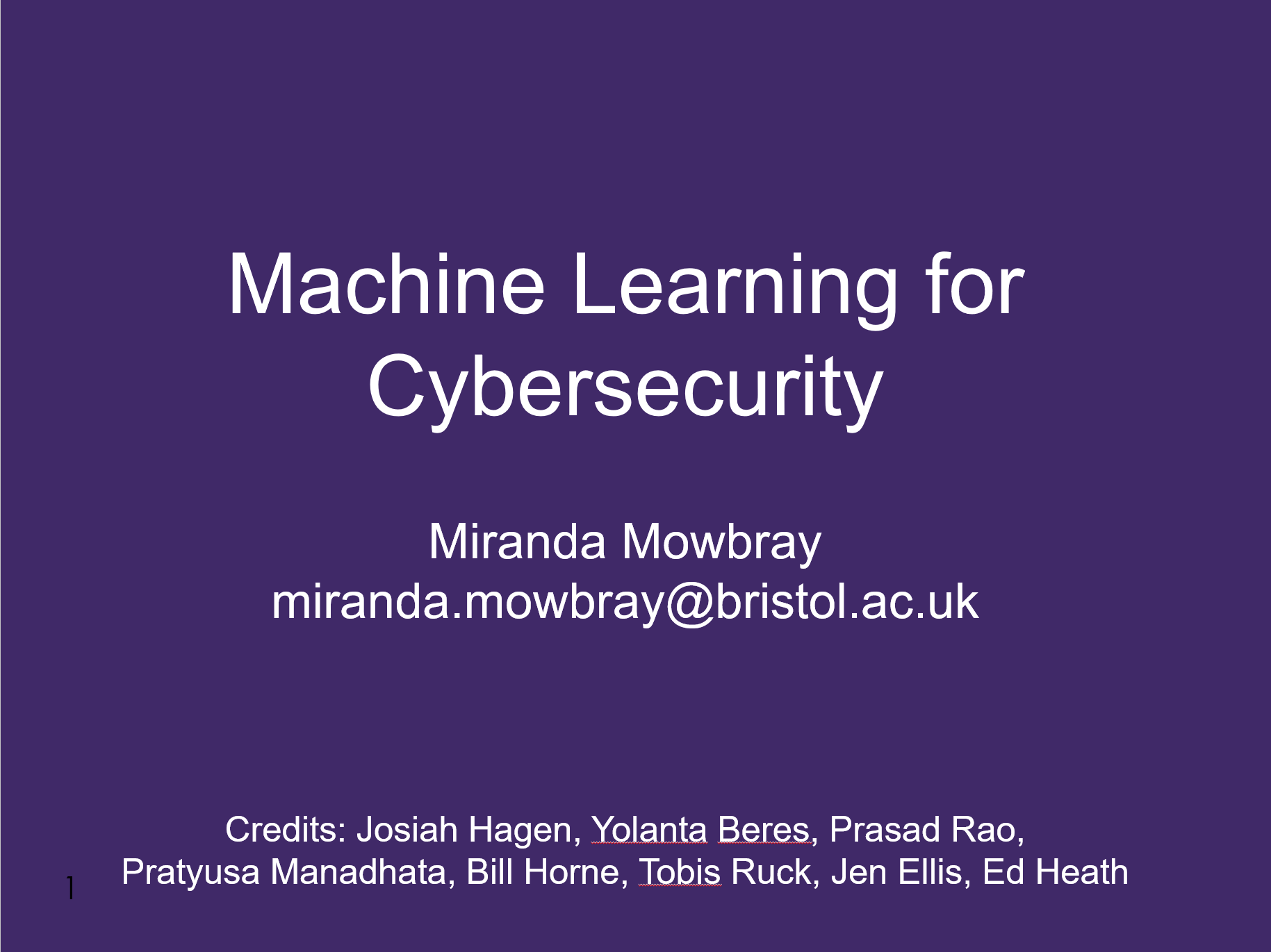 Mowbray Machine learning for cybersecurity